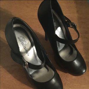 Flat black matte heels